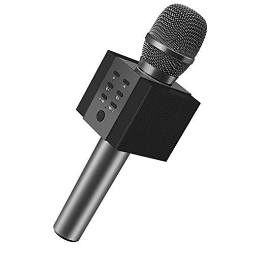 SPARKX Micrófono Inalámbrico De Karaoke Bluetooth, 10W Más Potencia, Mayores De Bajos, Altavoz Portátil De Tres En Uno Dobleta De Doble Cuerno,Negro