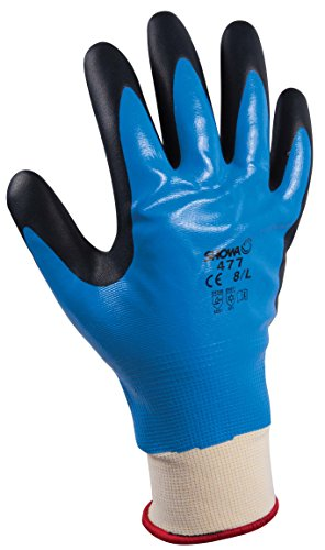 Showa Polyester Nylon Support Mesh Multipurpose Gloves, Interior Acrylic Fully Coated, Additional Nitrilee Foam Palm Lined Curtain, Blue, XL/ 9, blue, 1