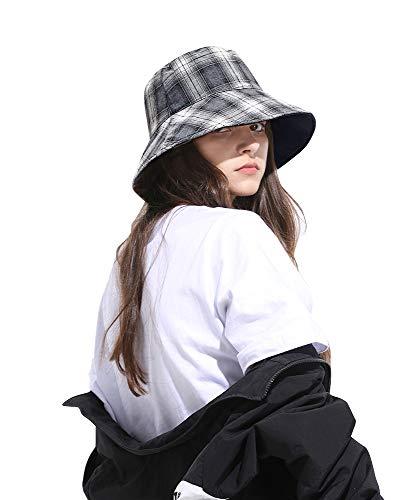 DOCILA White Black Vintage Plaid Tartan Bucket Hat for Women Reversible Causal Outdoor Fisherman Sun Cap