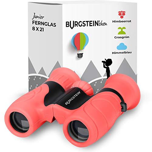 Burgstein®chen Fernglas für Kinder - Kompaktes Kinderfernglas 8x21 ab 3 Jahren, Leicht & Robust, inkl. Tasche, Reinigungstuch & Umhängeband (Himbeerrot)