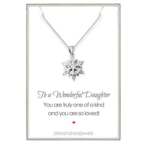 Tiny Delicate and Dainty Sterling Silver Snowflake Necklace, Snowflake Necklace for Girls, Gift for Daughter, 16 inches with 2 inch Extender
