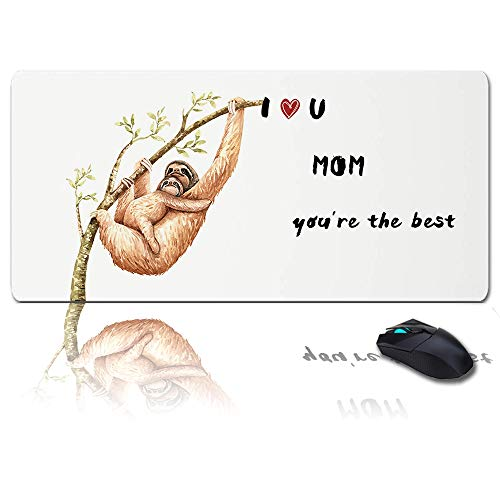 Large Mouse Pad Desk Mat 35x15 in Oversized RGB Soft Gaming Mousepad, Custom Sloth Mats, I Love Mom You're The Best XXL Cool Keyboard Pad for Gamer, Office & Home