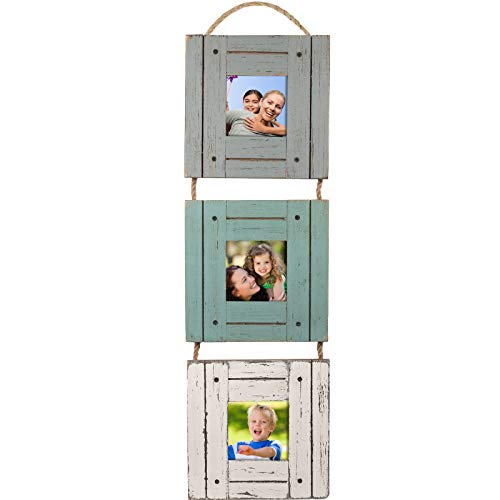 Excello Global Products Rustic Three Picture Frame: Holds Three 3x3 Photos, Hand Painted, Shabby Chic - EGP-HD-0020