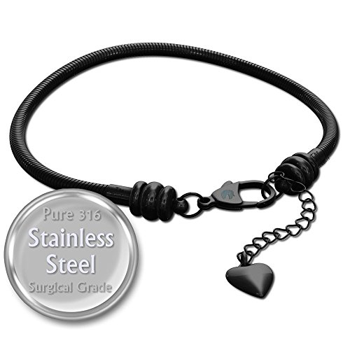 European Charm Bracelet for Women and Girls Bead Charms, Stainless Steel Snake Chain, Black Claw 8 Inch