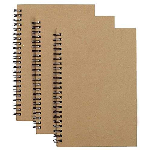 Pack de 3 Bloc de Notas Espiral, páginas en blanco diario Cuaderno de Bocetos Tapa Dura 45 Hojas (90 páginas) Para oficina, Estudiantes, útiles escolares, 4.7'x7'(Color: Yellow)
