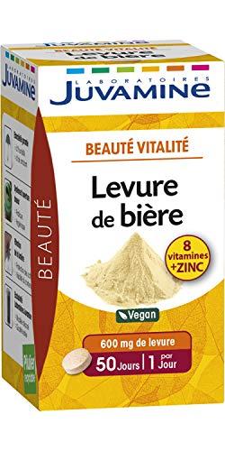 JUVAMINE Levure de Bière Beauté de la Peau/Cheveux/des Ongles 100% Naturel, 50 Comprimés