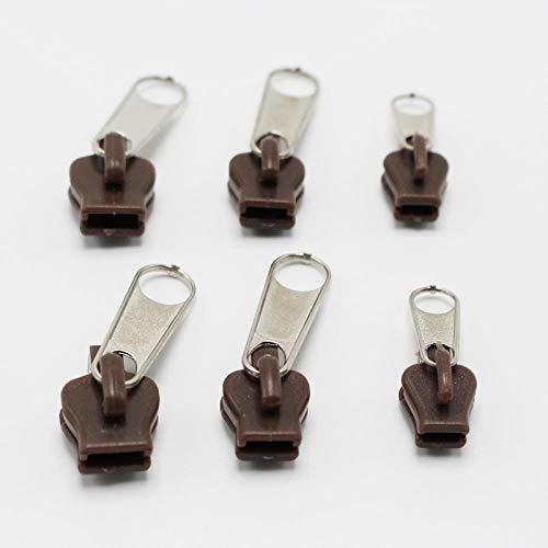 JINAN 6 pz/borsa universale Instant Fix cerniera kit di riparazione cerniera di ricambio cursore denti design cerniere per cucire vestiti (colore cachi 6pcs)