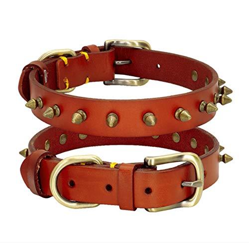 YHZY Collar De Perro De Cuero Genuino Espigas Collares De Perro con Tachuelas para Perros Pequeños Medianos Grandes Suministros para Mascotas De Pastor-Lightbrown_XS (22-28.5Cm)