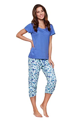 Moonline - Pijama capri para mujer, de algodón suave, varios modelos morado Small