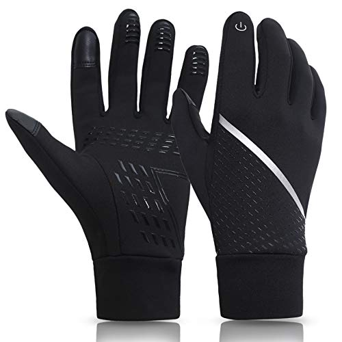 KELOYI Handschuhe Herren Damen Touchscreen Winter Handschuhe Fahrradhandschuhe Winterhandschuhe Outdoor Sport Laufenhandschuhe Warme Winddichte Anti-Rutsch Schwarze M