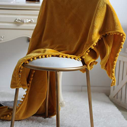 Beskie Fleece-Überwurfdecke für Sofa, Couch, Bett, Reisen, Schottenkaro in Rot/Schwarz, dekorative Überwurfdecke, 130 cm x 160 cm, Fleece, gelb, 51''*63''/130*160cm