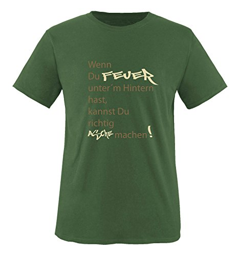 Comedy Shirts - Wenn du Feuer unter\'m Hintern hast, Kannst du richtig Asche Machen! - Herren T-Shirt - Oliv/Hellbraun-Beige Gr. L