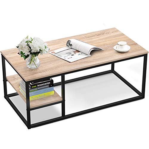 Amzdeal Coffee Table with Shelf, 40L×20W×17.7H inch,Living Room Sofa Table,Eco-Friendly,Sturdy and...