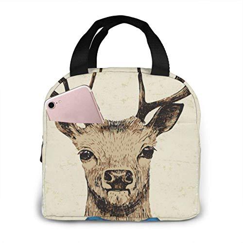 Bolsa de almuerzo con aislamiento de ciervo disfrazado a mano para hombres Bolsa de almuerzo porttil Bolsas de picnic Bolsa de artculos diversos o bolsas de compras para todo tipo de personas
