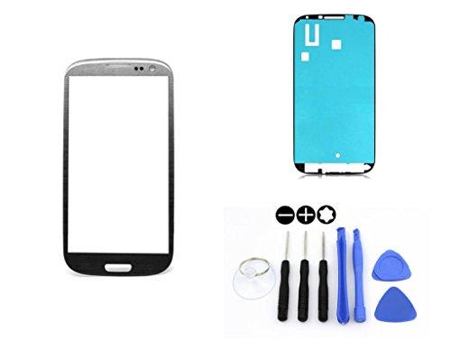 R.P.L. FRONTGLAS Set passend für Samsung Galaxy S3 Grau Grey i9300 i9305 / Frontglas/Glas/Displayglas/LCD Reparatur/LCD Display/Klebefolie/Glass Replacement / 8 - Teiliges Werkzeugset