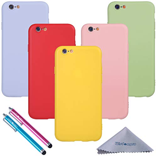 Wisdompro iPhone 6 Case, iPhone 6s Case, Bundle of 5 Pack Extra Thin Slim Jelly Soft TPU Gel Protective Case Cover for Apple 4.7 Inch iPhone 6 6s (Green, Light Blue, Pink, Yellow, Red) - Candy Color