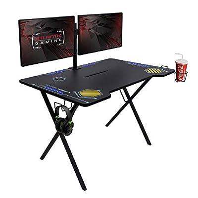 Atlantic Gaming Desk Viper 3000 - Computer Gaming Desk, LED Illumination, Three USB 3.0 Ports, Tablet/Phone Slot, Cup Holder, Dual Headphone Hooks, Storage Tray, Satin Finish Surface, PN33906164