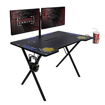 Atlantic Gaming Desk Viper 3000-45+ inches Wide LED Illumination Three USB 3.0 Ports Tablet/Phone Slot Cup Holder Dual Headphone Hooks Storage Tray Satin Finish Surface PN33906164