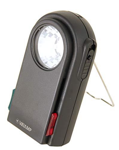 Velamp CHEMIN DE Fer 2 Lámpara de bolsillo extraplana, 3 LED, con filtros rojo y verde, botón Morse, colgable, superbrillante, para acampar en trekking de caza de emergencia, Negro