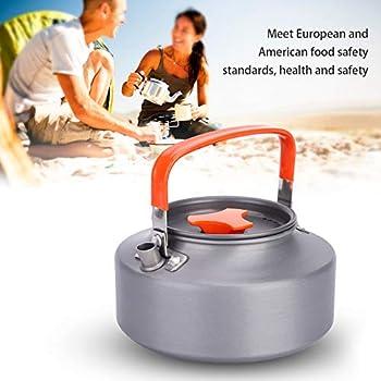 théière, Bouilloire De Camping, Portable 1.1L en Aluminium Théière Isolation Thermique Poignée Pliante Café Thé Pot Bouilloire pour Camping Randonnée Cuisine(Orange)