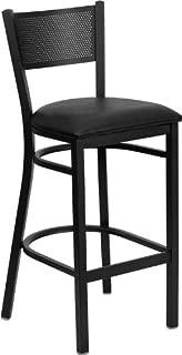 HERCULES Series Black Grid Back Metal Restaurant Bar Stool - Black Vinyl Seat