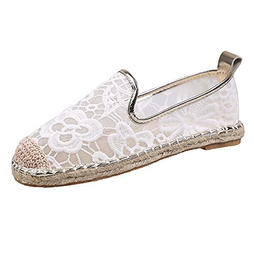 Alpargatas Planas Mujer, Surwin Respirable Clásico Lona Plano Ocasionales Loafer Zapatos, Primavera Verano 2021 Alpargatas Adulto Mocasines Zapatos (Blanco,39)