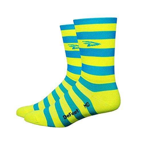 DeFeet Aireator Striper Cuff Socks, Blue/Yellow, Medium