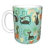 Gatti e piante moderni in tazza in ceramica verde acqua, tazza da caffè, tazza da tè, boccale da birra per ufficio e capacità domestica