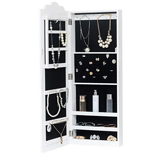 WOLTU MB0001ws Spiegel Schmuckschrank Standspiegel Wandspiegel Spiegelschrank Schmuckkasten, MDF Holz, mit Magnetverschluss, Weiß, ca. 96 x 35 x 9 cm (H x B x T)