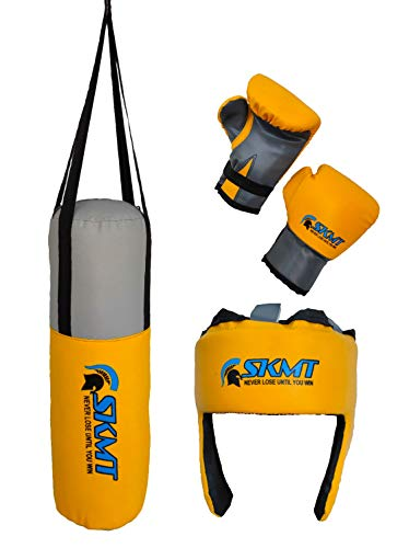 SKMT NEVER LOSE UNTIL YOU WIN Kids Boxing kit Yellow (Filled Punching Bag, Gloves and Headgear, Age 2-8 Years)