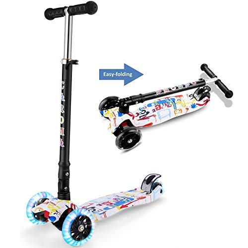 CAROMA Kick Scooter für Kinder, 3 Räder Höhenverstellbarer Kids Scooter mit PU-Blinklicht Leuchten Räder für Jungen Grils Alter 2-12 Jahre alt (White)