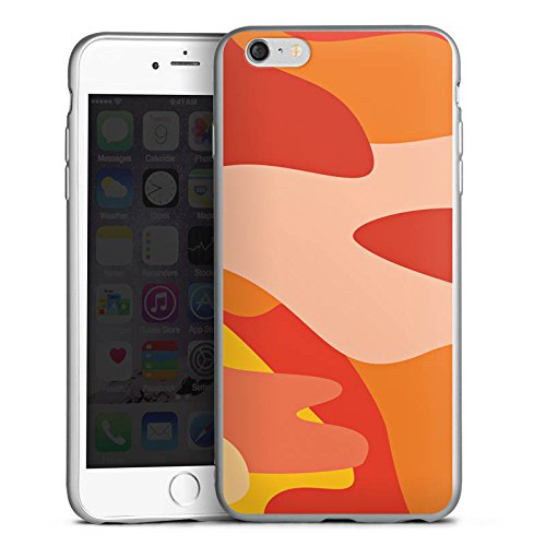 DeinDesign Cover kompatibel mit Apple iPhone 6s Plus Silikon Hülle Silber Case Schutzhülle Camouflage Bundeswehr Orange