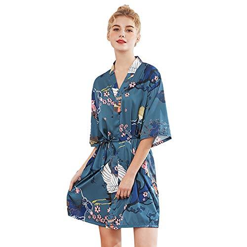 D C.Supernice Batas De Seda De Imitación para Mujeres, Moda para Mujer Satinadas Bata De Kimono Impresas Albornoces