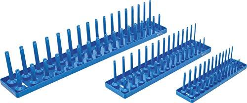 BGS 67158 | Halter für Steckschlüssel-Einsätze | 3-tlg. | Klemmleiste | Nusshalter | Aufsteckleiste | Steckschlüssel-Organizer