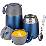 Insulated Lunch Containers Hot Food Jar, 2 Pack Vacuum Soup Thermos Food Flask, 24 oz+17 oz Stainless Steel Bento Lunch Box Keep Hot/Cold with Foldable Spoon & Fork for Kids Adults, Dark Blue