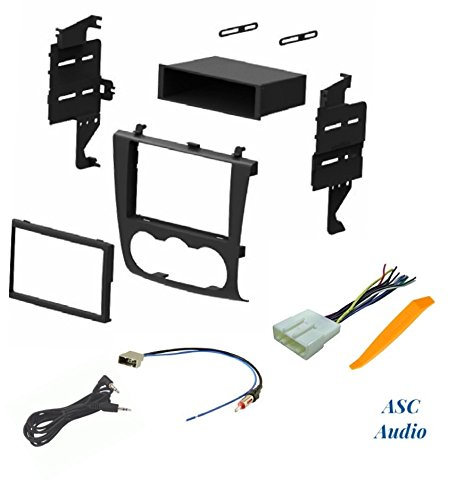 ASC Audio Car Stereo Install Dash Kit, Wire Harness, and Antenna Adapter for Installing an Aftermarket Radio for 2007 2008 2009 2010 2011 2012 Nissan Altima w/Manual Climate Control Knobs