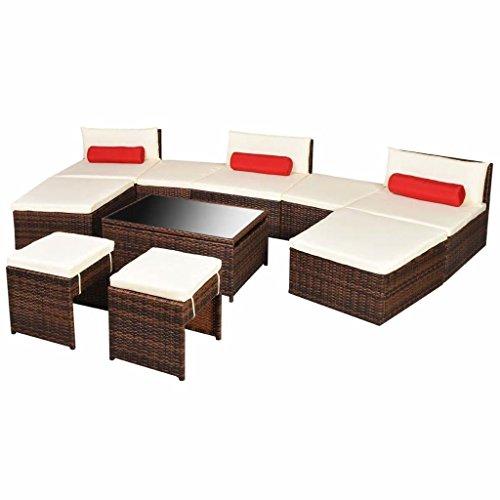 25 pièces modulaire Canapé/bain de soleil de jardin en poly rotin Marron de chaises de salle à manger avec tissu rouge Taie d'oreiller