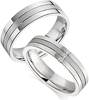 c150a0416 RM Jewellers CZ 92.5 Sterling Silver American Diamond Amazing Couple Band  for Men and Women
