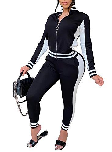 FOBEXISS Mujer Color Block Traje de Manga Larga Chándal con Cremallera Top Y Pantalones de Chándal Skinny Estampado Rayas Ropa Deportiva Salón