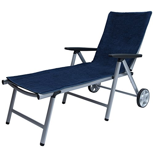 Beautissu XL Handtuch für Liegestuhl – Marbella Frottee Schonbezug Sonnenliege 70x200cm – Weiche Frottee Auflage Gartenliege mit Antirutschfunktion Blau