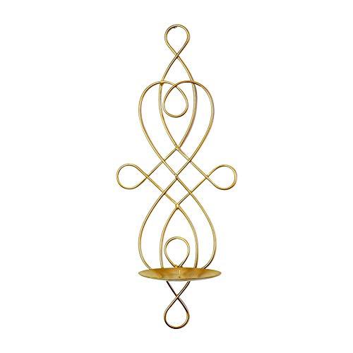Dosige. Candelabro de Hierro Colgante de la Pared Titular de la Vela Creativo Metal candelabro Ambiente hogar decoración Adornos Size 14.5 * 10.5 * 35CM (Dorado)