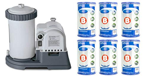 Intex 2500 GPH Krystal Clear Pool Filter Pump w/GCFI & 6 Type B Cartridges