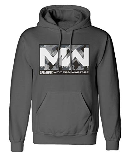Call of Duty Modern Warfare – Camo Box – Sweat Gris pour Homme avec Capuche Impression Frontale – Produit Officiel - Gris - Small