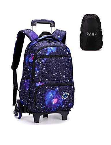 Mochila escolar con ruedas para niños y niñas, con diseño de galaxia, Noir Etoile (Negro) - ZRY-1225-HEI