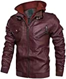 Stgfstydt Men's Fall Winter Zip Trim Thicken Fleece Hoodie Pu Leather Jacket Coat