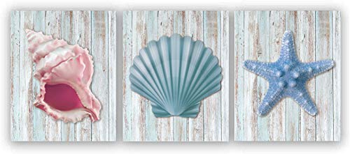 """Watercolor Beach Theme Seashell Starfish Art Print Inspirational Quote Art Painting Set of 3 (8""""X10"""" Canvas Picture),Motivational Phrases Ocean Wooden Wall Art Poster for Bedroom or office, No Frame"""