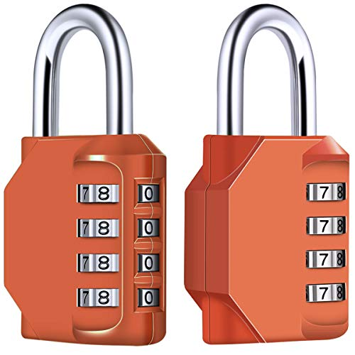 Fence Padlock for School Gym Locker Toolbox Employee Locker Tacklife HCL1B Combination Padlock Parking Lock - 2 Packs Hasp Filing Cabinets Case etc 4 Digit Combination Lock