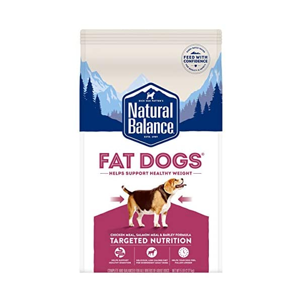 Natural Balance Fat Dogs Low Calorie Dry Dog Food for Overweight Adult Dogs (Packaging...