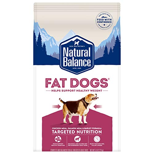 Natural Balance Fat Dogs Low Calorie Dry Dog Food, Chicken Meal, Salmon Meal, Garbanzo Beans, Peas & Oatmeal, 5 Pounds (Packaging May Vary)