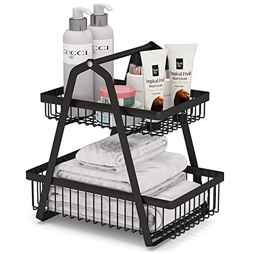 Estante organizador de baño de 2 niveles, 1Easylife Metal Wire Basket Organizador de escritorio, bandeja de maquillaje, estante organizador independiente desmontable y apilable